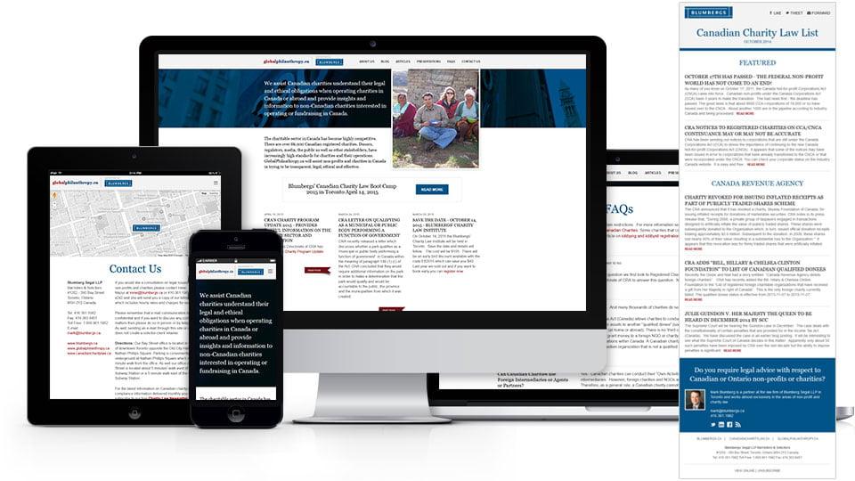 Global Philanthropy mobile friendly website and newsletter